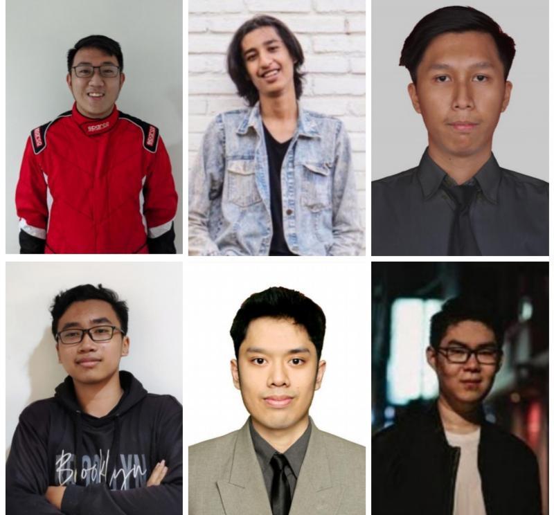 Searah jarum jam, dari kiri atas : Andreas Kurniadi, Adi Nugroho, Bagas Rahmat, Alwi Shahab, Aditya Bhatara, dan Shendy Pramantio, para jawara round 1 Indonesia Digital Drift Series. (foto : kolase)