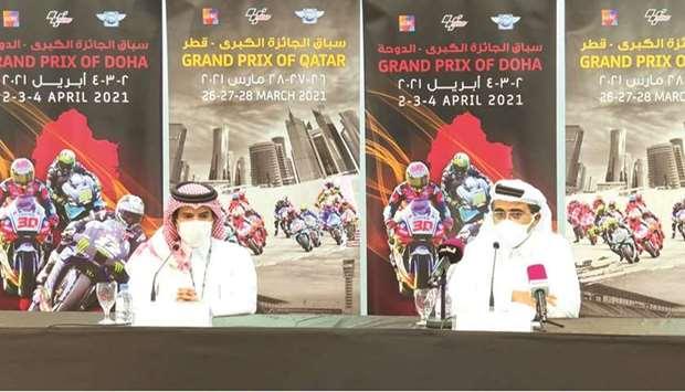 President Federasi Motorsport Qatar (QMMF) Abdulrahman al-Mannai (kiri) saat jumpa pers virtual. (Foto: gulftimes)