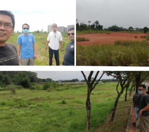 Searah jarum jam, kiri atas Unggul Pakoso (baju putih) saat lakukan survei di Meikarta, serta foto lainnya calon venue di perumahan Serpong Natura,