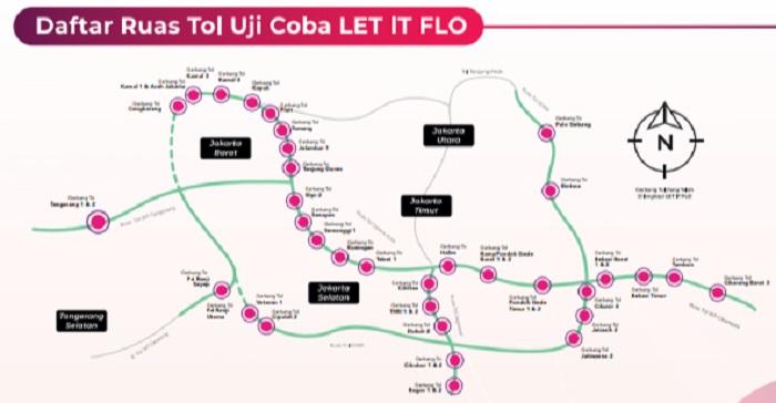 Daftar sejumlah ruas tol yang sementara melakukan uji coba akses tol tanpa ngetap kartu e-Toll dengan menggunakan stiker FLO