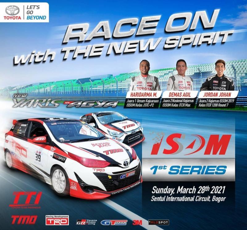 Toyota Team Indonesia menurunkan 3 pembalap di ISSOM 2021 yaitu Haridarma Manoppo, Demas Agil dan Jordan Johan dengan New Yaris dan New Agya