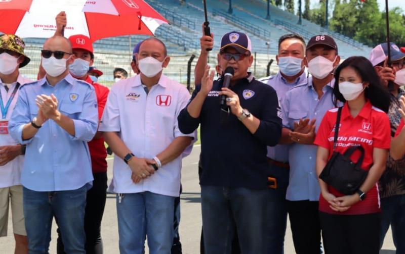 Bamsoet saat membuka kejurnas balap mobil ISSOM 2021 di Sentul International Circuit Bogor hari ini