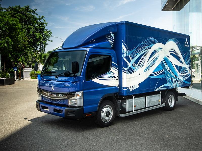 Tampang truk listrik Fuso e-Canter yang sempat diperkenalkan Mitsubish Fuso pada tahun 2020