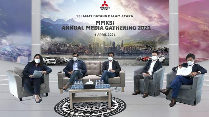 Petinggi Mitsubishi (MMKSI) saat acara Annual Media Gathering 2021 di Jakarta hari ini