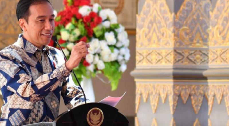 Presiden Joko Widodo saat melakukan pembukaan seremoni IIMS Hybrid 2021