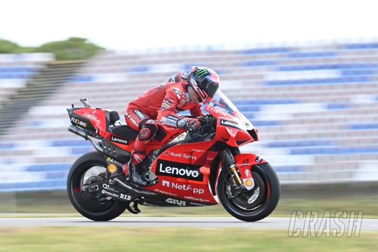 Francesco Bagnaia (Italia) satu-satunya riser Ducati yang bersaing di level atas sesi awal GP Portugal. (Fotto: crash)