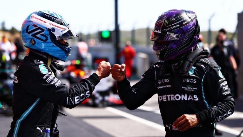 Pasangan Mercedes Valtteri Bottas dan Lewis Hamilton, secara teori harusnya fight di GP Portugal besok. (Foto: formula1)