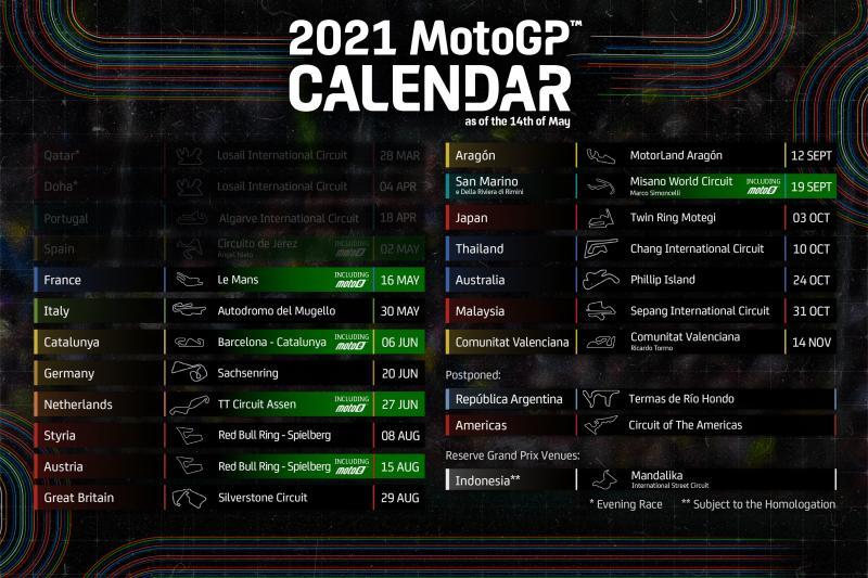 Revisi jadwal MotoGP 2021, Indonesia masuk kembali. (Foto: motogp)