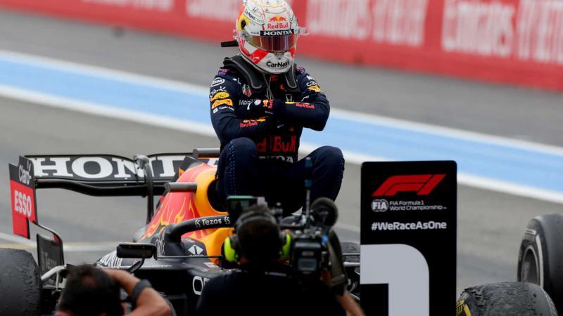 Gaya Max Verstappen (Belanda/Red Bull Honda) usai menang di GP Prancis hari ini. (Foto: redbullcontentpool)