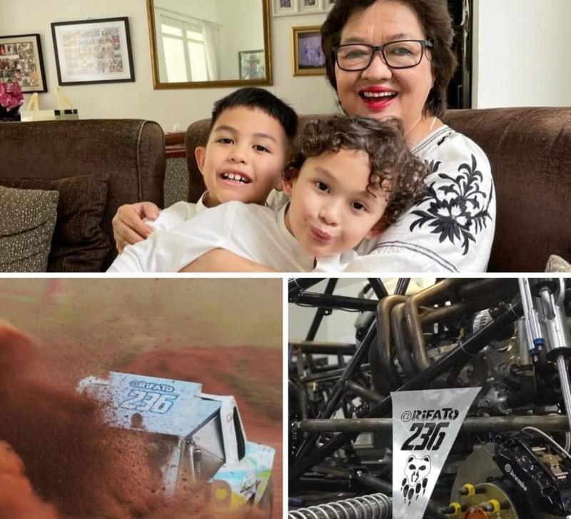 Ria Sungkar bersama cucu (atas), mobil offroad Rifat Sungkar dengan nomor lambung 236 merupakan tanggal tanggal dan bulan kelahiran sang mama. (foto : kolase rifat)