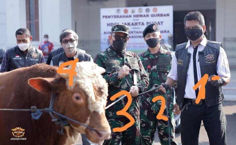 Nomor 1 dr. Arbain Siregar, 2 Ketua panitia Qurban masjid Kohanudnas, 3. Kol Roy Romanza mewakili komandan Kohanudnas dan 4 Rimet Za Hendry