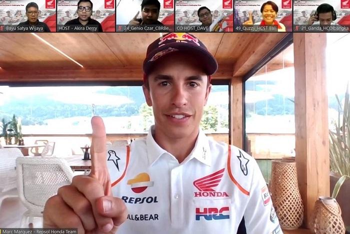 Marc Marquez saat berbincang dengan perwakilan komunitas Honda di Indonesia dalam acara NGOPREK Honda secara virtual