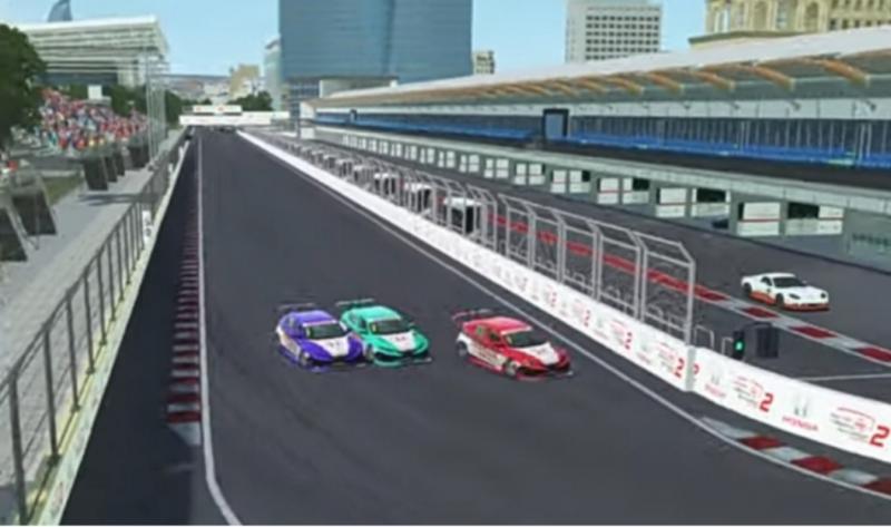 Dari kiri mobil Daffa AB, Jaka Siswoyo dan Andika Rama Maulana, insiden mobil nyangkut di putaran 1 Honda Racing Simulator Championship 2021