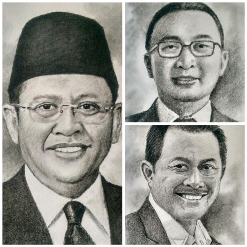 Tiga ketua umum IMI Pusat terakhir, dari kiri searah jarum jam Bamsoet, Sadikin Aksa dan Nanan Soekarna