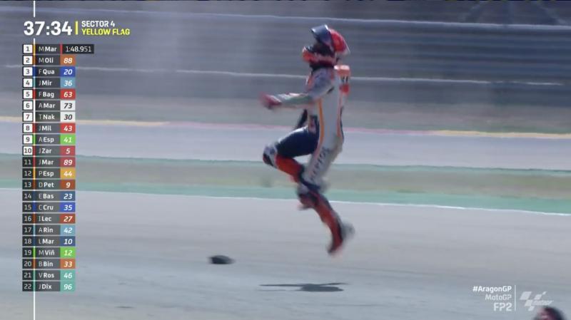 Marc Marquez (Spanyol/Honda) tak cedera berarti usai terpelanting dari motornya di FP2, meski motornya rusak parah. (Foto: ist)
