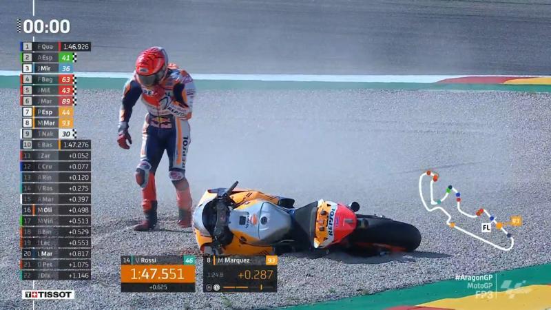 Marc Marquez (Spanyol/Hoonda), terpelanting lagi di FP3 GP Aragon saat flying lap terakhir. (Foto: ist)