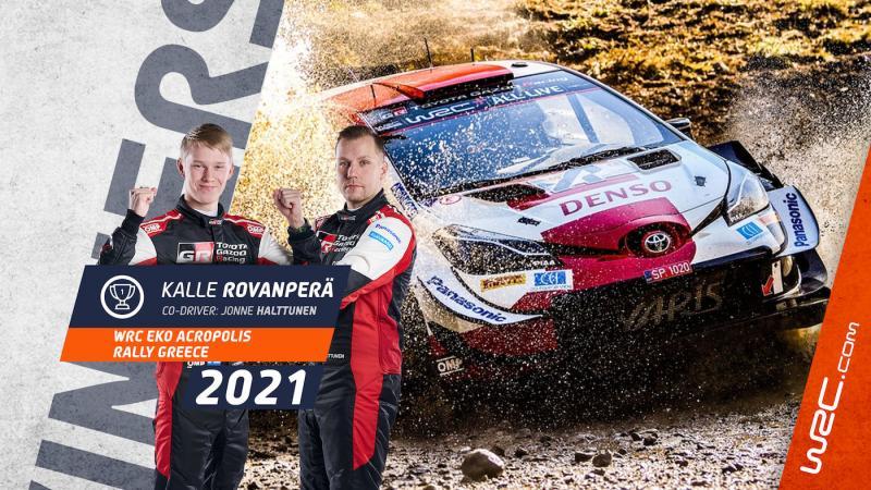 Pasangan Kalle Rovanpera dan Jonne Halttunen meraih kemenangan kedua WRC 2021 di atas Yaris WRC. (Foto: wrc)
