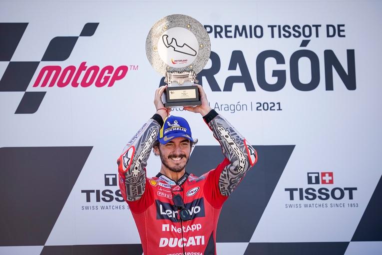 Francesco Bagnaia (Italia/Ducati), kemenangan perdana MotoGP di Aragon. (Foto: ducati)