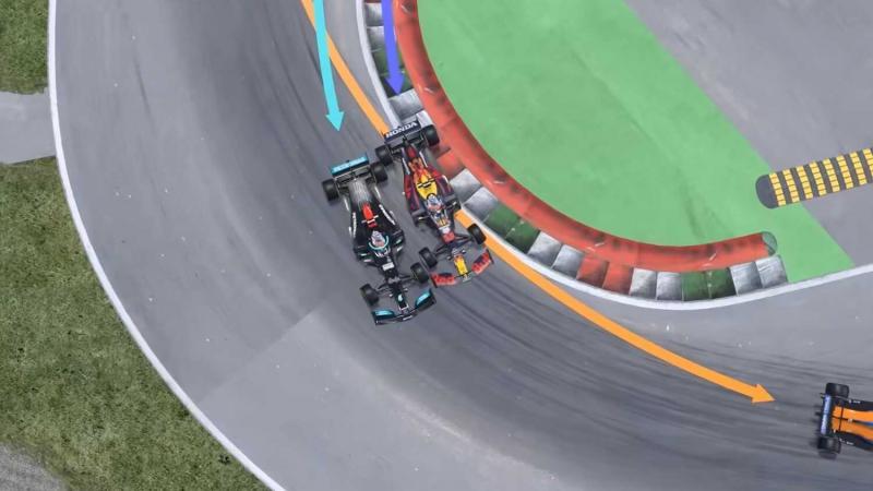 Video animasi 3D rilisan Crashalong yang meperjelas kronologi insiden Max Verstappen - Lewis Hamilton di Monza. (Foto: racingnews365)