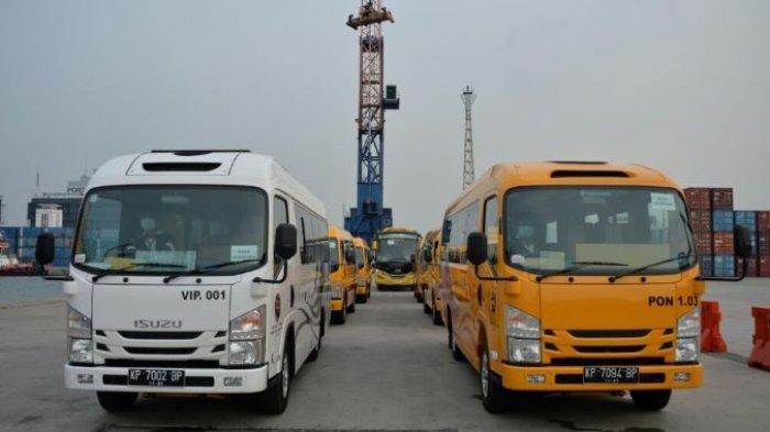 Bus yang dikirimkan Kementerian Perhubungan untuk mendukung kelancaran transportasi saat PON XX Papua berlangsung