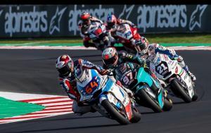 Duo rider tim Pertamina Mandalika Bo Bendsneyder dan Tom Luthi berhasil finish zona poin di Moto2 Emilia Romagna, Italia